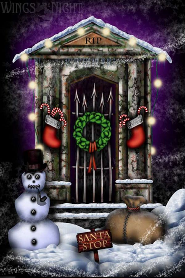 NIGHT MOTH Graveyard Shift Gothic Christmas Card
